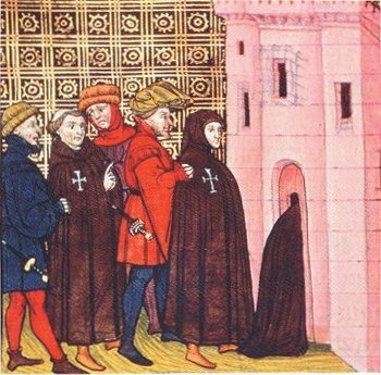 the arrest of the Templars, miniature in Chroniques de France; XIV th century; British Library; London