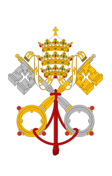 emblème du Vatican; source: http://upload.wikimedia.org/wikipedia/commons/thumb/0/00/Flag_of_the_Vatican_City.svg/600px-Flag_of_the_Vatican_City.svg.png