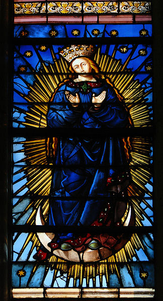 """stain-glassed window by Jean Soudain, 1524, representing """"the Virgin in the Apocalypse""""; Cathedral Saint-Pierre-et-Saint-Paul de Troyes; source Wikipedia"""