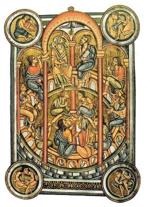 """""""Pentecost"""";  abbot Berthold de Weingarten's missal; Pierpont Morgan Library; New York; ms 710; fol 64v; vers 1232"""