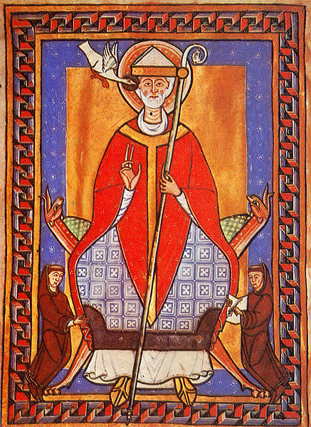 Pope Gregory VII with two monks, painting miniature of the 13th century