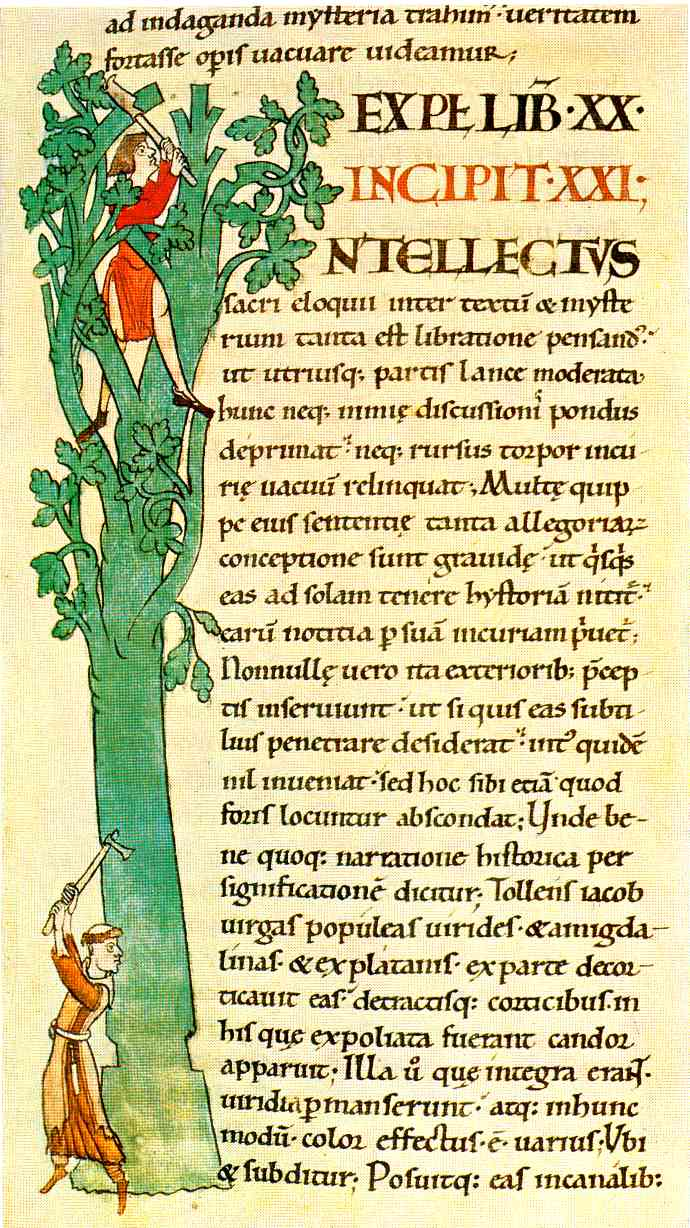 illustration in Moralia in Job by Pope Gregory I, scriptorium of the abbey of Cîteaux; 1111 Bibliothèque Municipale de Dijon Manuscrit 173, folio 103v