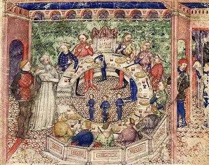 Milan, circa 1380-1385. Copied by Albertolus de Porcelis Parchemin, 113 f., 392 x 274 mm; Provenance : Bernabo Visconti ; incorporé à la bibliothèque des ducs de Milan par Gian Galeas Visconti ; transféré par Louis XII au château de Blois en 1500 BnF, Manuscrits, Français 343 fol. 3