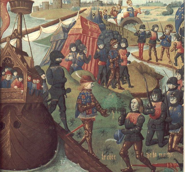 Henri III, King of England, disembarks at Aquitaine;  Bibliothèque Nationale; MS Fr. 2829; folio 18