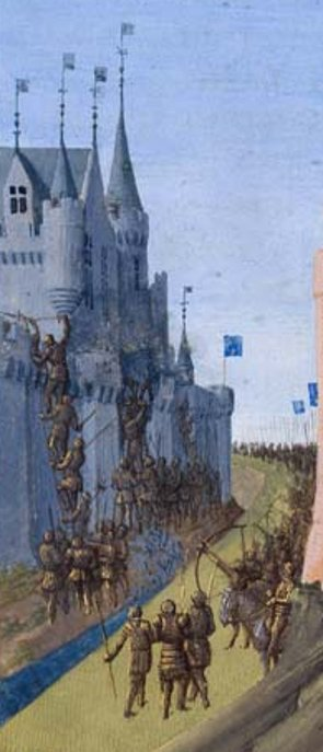 siege of Avignon; detail of Louis VIII the Lion; in: Grandes Chroniques de France,illuminated by Jean Fouquet, Tours, circa 1455-1460
