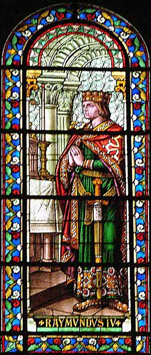 Raymond IV de St Gilles; stained-glass window of the cathedral of Nîmes; source: nimausensis.com