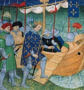 Saint Louis boarding for the crusade; Louvre,Dpt.des Arts Graphiques, Paris, France