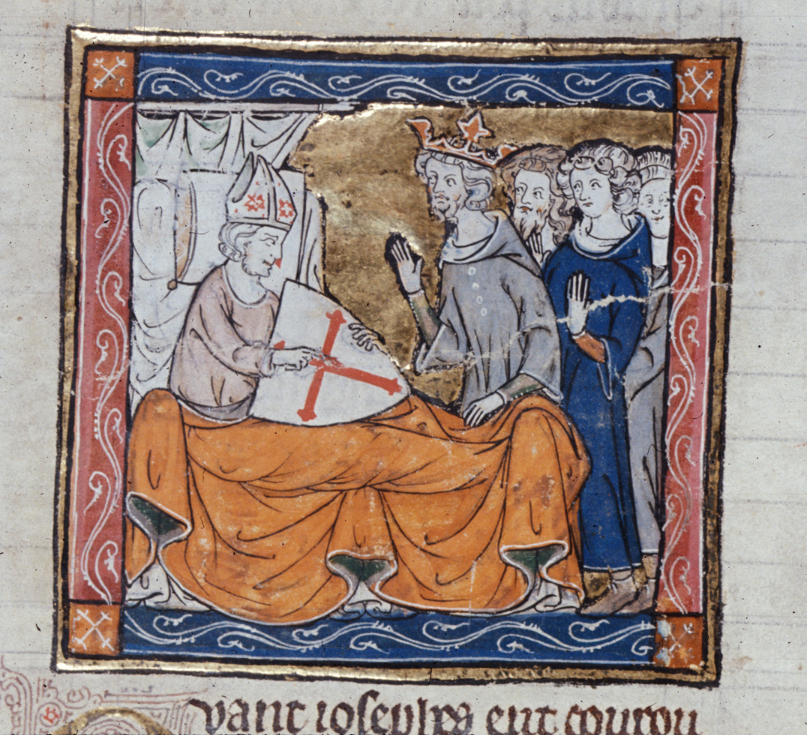 F85v; l'Estoire del Saint Graal, la queste del Saint Graal, Morte Artu (British Library, Royal 14E III)