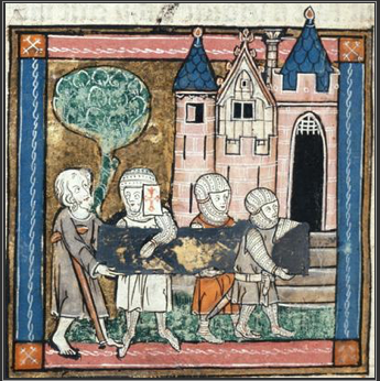 F138v;  l'Estoire del Saint Graal, la queste del Saint Graal, Morte Artu (British Library, Royal 14E III)